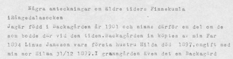 """Inledningen av """"Några anteckningar om äldre tiders Finnekumla i Rångedala socken"""""""