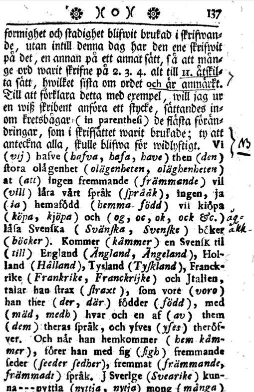 """Ur """"Swänska språkets rätta skrifsätt"""" (1753) av Sven Hof."""